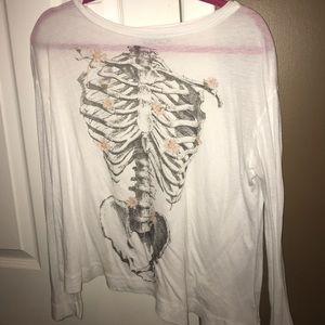 Wildfox long sleeve flower skeleton XS